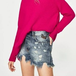Zara Butterfly Embroidered Distressed Jean Shorts